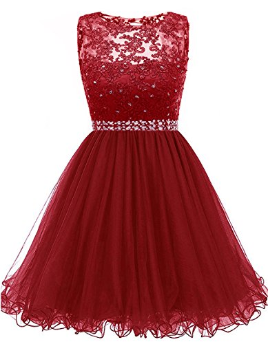 Himoda Lace Beaded Homecoming Dresses Sequined Appliques Cocktail Prom Gowns Short H010 8 Burgundy