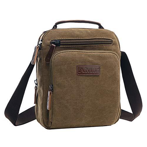 AMJ Canvas Messenger Bag for Men, Vintage Crossbody Shoulder Bag Man Purse for Work Business, Small, Coffee