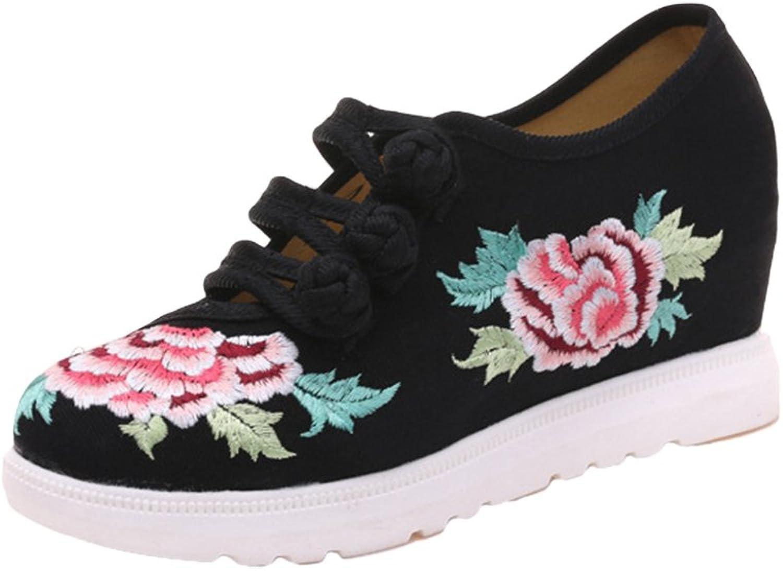 AvaCostume Womens Hibiscus Embroidery Frog Design Wedge Heel Sneaker