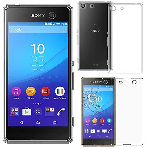 ebestStar - kompatibel mit Sony Xperia M5 Hülle M5 Dual Handyhülle [Ultra Dünn], Durchsichtige Klar Flex Silikon Schutzhülle, Transparent + Panzerglas Schutzfolie [M5: 145 x 72 x 7.6mm, 5.0'']
