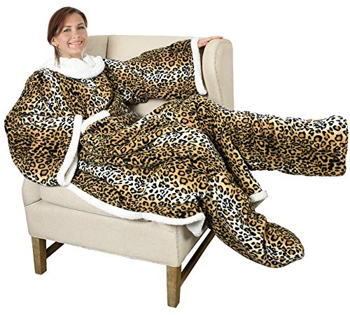 Catalonia Sherpa Wearable Blanket with Sleeves & Foot Pockets for Adult Women Men,Comfy Snuggle Wrap Sleeved Throw Blanket Robe,Gift Idea,Cheetah