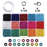 Charminer Conjunto de Cuentas de Colores, Abalorios para Hacer Pulseras, 3mm Perlas de Vidrio Perlas de Potro Mini Cuentas para Hacer Joyas de Bricolaje Collares Pulseras Bijouterie Regalo