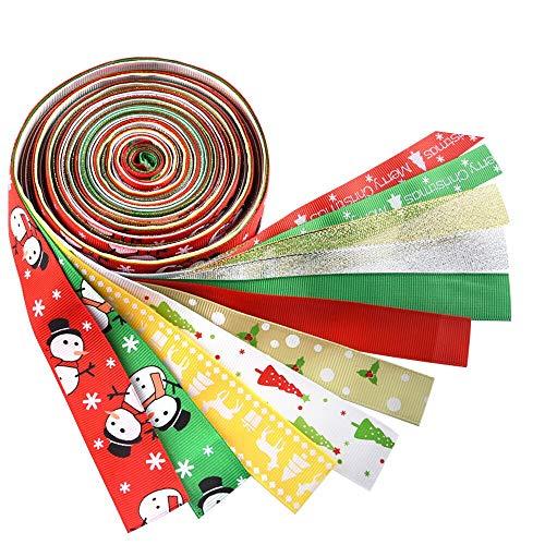 Kuuqa 12 piezas cintas de Navidad Grosgrain cinta de tela de satén para decoraciones de Navidad, envoltura de regalos, fabricación de los arcos del pelo, costura artesanal o decoraciones de la boda
