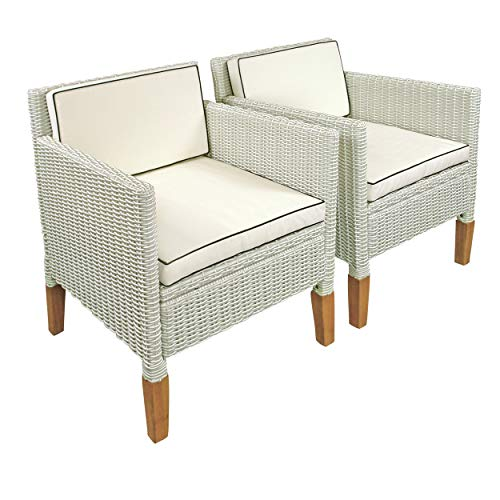 indoba 2 x Gartenstuhl Havanna-Polyrattan und Holz-Serie Havanna-IND-70125-ST Gartensessel, weiß Used Look