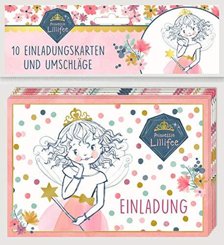 Einladungskarten - Prinzessin Lillifee (Glitter & Gold) - Einladung: 10 Einladungskarten mit Umschlägen (2 Designs)