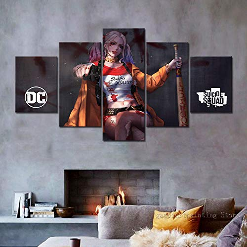 CGHBDOP Prints On Canvas Wall Art Picture 5 Panels Paintings Movie Suicide Squad Harley Quinn Living Room Home Decor Painting Picture Photo
