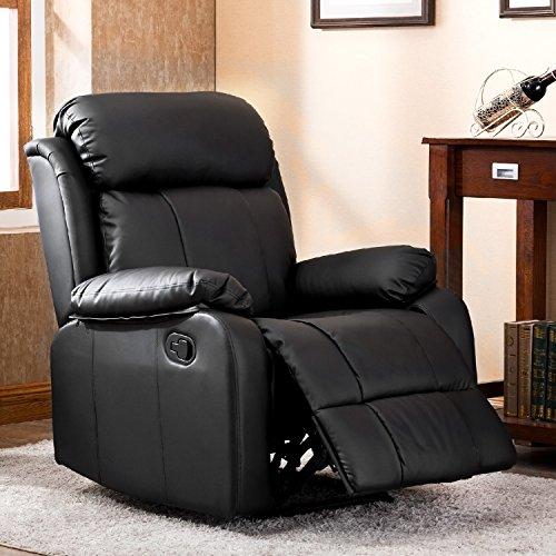 Q-HL Leisure Zone  - Sillón reclinable de cuero con respaldo alto, para el hogar, salón, juegos, cine, respaldo alto, color marrón