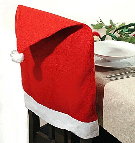 SSITG 6 x stoelhoezen Kerstmis kerstmuts stoelbekleding stoelhoes stoelhoes