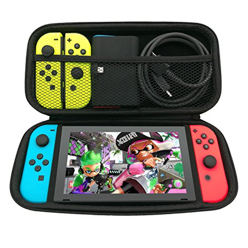 Fyoung Carry Case Compatible With Nintendo Switch - Protective Hard Portable Travel Carry Case Shell Pouch for Nintendo Switch and Accessories - Black