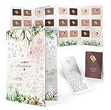 Calendario de Adviento con tarjetas para rellenar y regalar para adultos, 24 mensajes personales para tu pareja, novia, novio, marido, mujer, tarjetas del tesoro, juego de carpeta (amor edition)