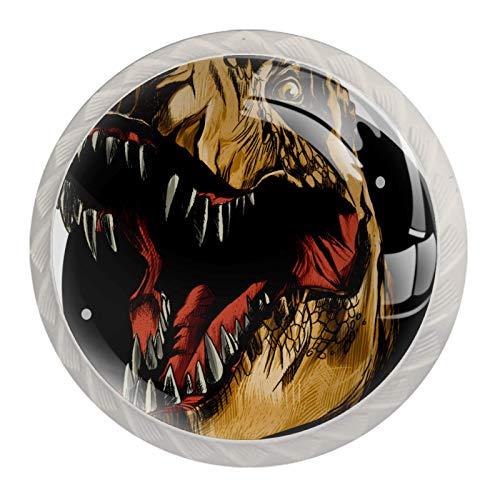Juego de 4 pomos de cerámica de varios diseños para cualquier hogar, cocina u oficina, dinosaurio tiranosaurio Rex
