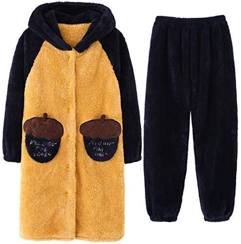 LEYUANA 2 Piezas de Pijamas de Invierno para Mujer, Ropa de Dormir, Mangas largas, cálido, Suave, L Color5