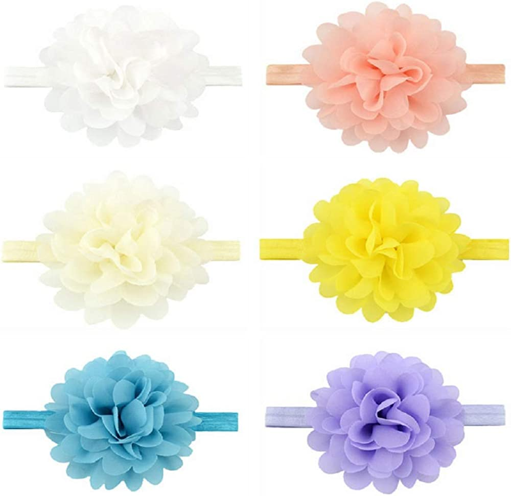 Baby Girls Nylon Headbands, IIS Chiffon Flowers Bows Newborn Infant Toddler Hairbands and Child Hair Accessories (Multicolored-10-12PCS)