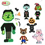 24 Pcs Foam Character Art and Craft Set in 6 Different Designs for Trick-or-Treating, Halloween Party Favors Supplies