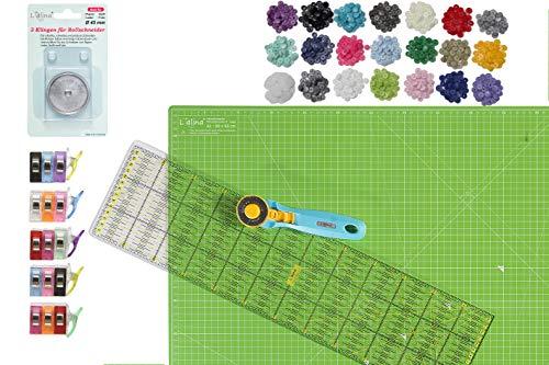 Lialina A1 Schneidematte 90 x 60 cm + Patchwork Lineal 15 x 60 cm + Rollschneider mit 3 Ersatzklingen + 20 Stoffklammer + 200 T5 Druckknöpfe + 100 Klebepunkte