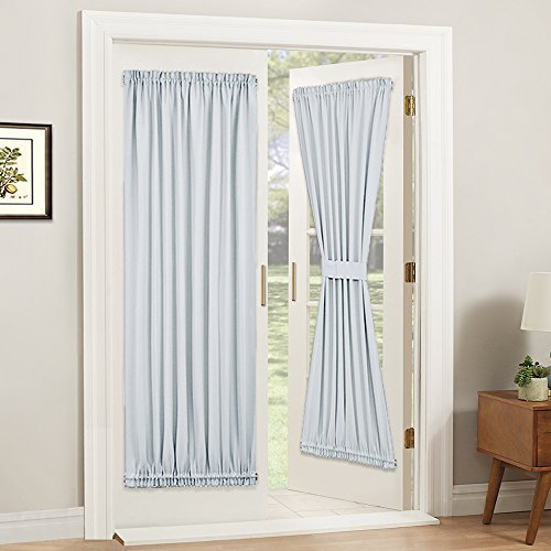 PONY DANCE White Door Curtain - Window Treatments Solid Energy Efficient Rod Pocket French Patio Door Panel with Tieback in Same Color Material, 54 x 72 inch, Greyish White, Single Piece
