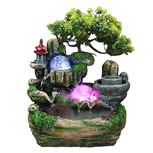 Steintuin fontein decoratie indoor waterval Feng Shui-met LED bal rustgevende cascading Home woonkamer aquarium Office Shop opening geschenk