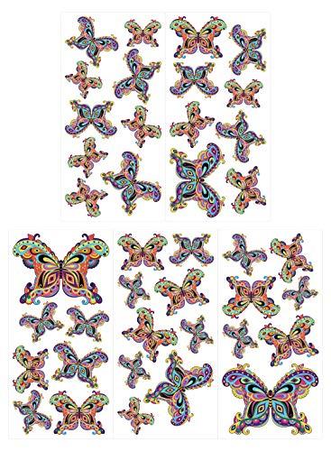 dekodino® Wandtattoo Schmetterlinge Set orientalisch Dekoration