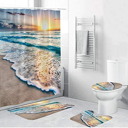 Iusun Toilet Pad Set,4PCS Plant Landscape Series Non-Slip Toilet Cover Suction Grip Bath Mat Floor Rug Set Shower Curtain for Bathroom Kitchen Doormats Decor (A)