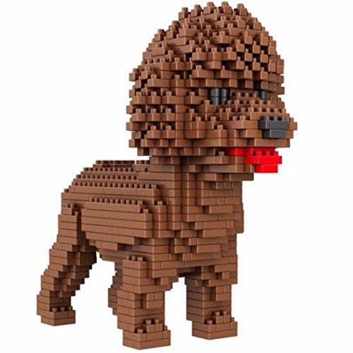 Atomic Building Hund Pudel (Caniche). Figur gebaut mit Mini-Bausteinen. 950 Teile.