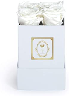 Fleur Magique | Preserved White Roses | Small Square Preserved Flowers Arrangement Classic Box (White, Classic White Box)