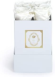 Fleur Magique   Preserved White Roses   Small Square Preserved Flowers Arrangement Classic Box (White, Classic White Box)