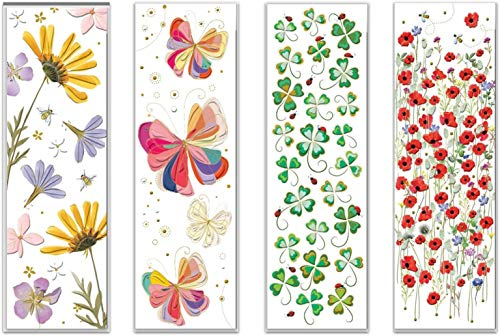 Set aus vier hochwertigen Lesezeichen, geprägtes Reliefpapier (original von Turnowsky, est. 1940) (Blumen, Schmetterling, Mohn, Kleeblätter)