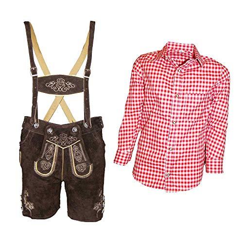 MS-Trachten Trachtenset Kinder Lederhose Trachtenhose mit Hemd (164, rot-kariert)
