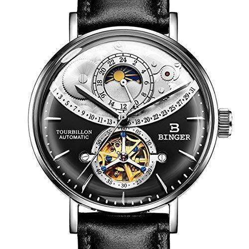 Binger Armbanduhr Herren Klassisch Wasserdicht Herrenuhren mit Edelstahl Armband,Colorf
