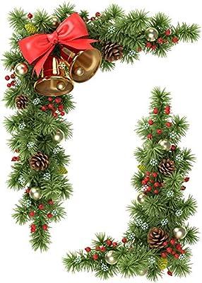 Christmas Corner Window Clings Cones ,Fir & Bells Window Decoration