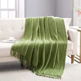 Revdomfly Knitted Throw Blanket Green Farmhouse Woven Blankets with Fringe Tassels for Couch Bed, 47' x 67', Green