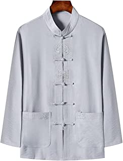 FMOGQ Męski garnitur chiński tradycyjny kung fu koszula bawełna mieszanka chun mundur tai Chi garnitur zen medytacja sztuk...
