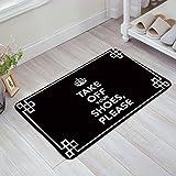 SIMIGREE Please Take Off Your Shoes - Black Funny Welcome Door Mats Kitchen Floor Bath Entrance Rug Mat Absorbent Indoor Bathroom Decor Doormats Rubber Non Slip 32' x 20'