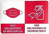 Pegatinas Uso Obligatorio de Mascarilla y Desinfectante Pack de 12 Unidades Tamaño A4 Adhesivo de Fácil Colocación (ROJO)