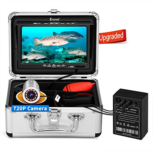 Eyoyo Underwater Fishing Camera, Ice Fishing Camera Portable Video Fish Finder, Upgraded 720P Camera w/ 12 IR Lights,...