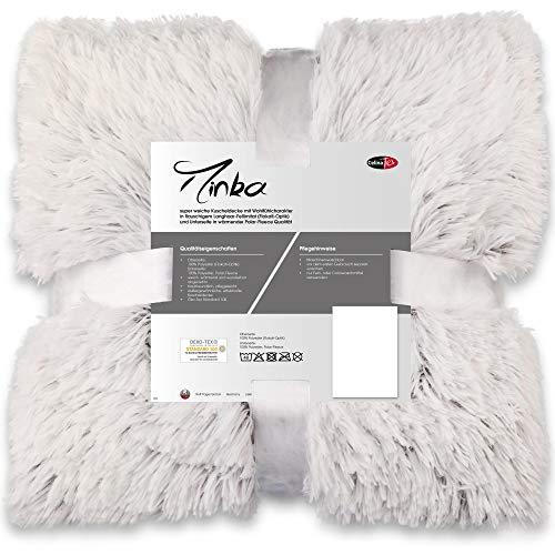 CelinaTex Minka Kuscheldecke 150 x 200 cm Creme weiß braun Longhair Tagesdecke Flokati-Optik Sofadecke Wohndecke