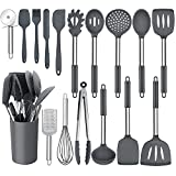 Homikit 17 Pieces Silicone Kitchen Utensils with Holder, Gray Cooking Utensils Sets Stainless Steel Handle, Nonstick Kitchen Tools Include Spatula Spoons Turner Pizza Cutter, Heat Resistant