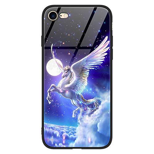 Yoedge iPhone 6 Plus Hülle, Hybrid Schutzhülle [TPU Silikon Bumper + Glas Rückseite] mit Muster Motiv Handyhülle Kratzfeste Hardcase Rückschale Cover für Apple iPhone 6 Plus / 6S Plus, Pferd