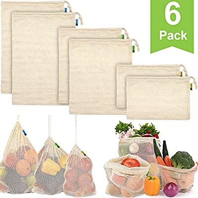 Reusable Produce Bags, Organic Cotton Mesh Bags Reusable Grocery Bag with Drawstring for Shopping & Storage, Washable, Biodegradable, Eco-friendly, Durable with Tare Weight on Color Label(6 Pack)