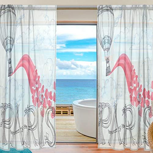 TIZORAX Paris Paire de Rideaux Transparents à air Chaud Motif cœurs Rose 140 x 178 cm, Polyester, Multicolore, 55\