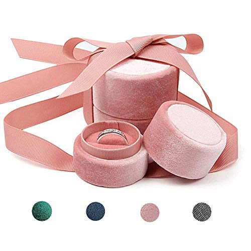 Beatilog Pink Wedding Ring Box - Small Premium Velvet Round Ring Earring Jewelry Storage Organizer Gift Box with Elegant Silk Bow for Proposal, Engagement, Birthday, Christmas, Anniversary (Small)