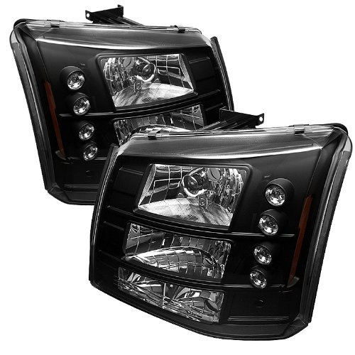 Spyder Auto Chevy Silverado 1500/2500/3500 Black LED Crystal Headlight with Bumper Light