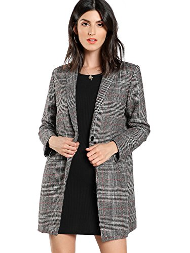 SheIn Women's Lapel Collar Coat Long Sleeve Plaid Blazer Outerwear Grey Medium