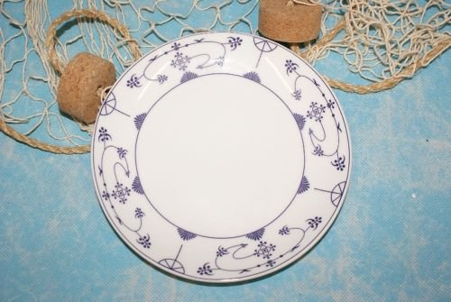 Ocean-Line Kuchenteller / Frühstücksteller Indisch Blau / Strohblume ca.18cm Porzellan