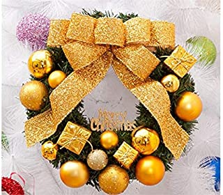 Christmas Party Christmas Wreath Door Hanging Ornaments Room Christmas Tree Pendants for Decoration(Golden)