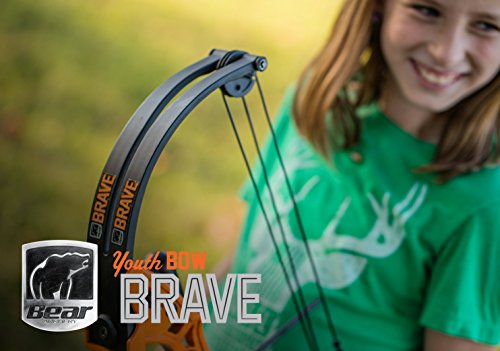 Bear Archery Brave Youth Bow Includes Whisker Biscuit, Arrows, Armguard, and Arrow Quiver Recommended for Ages 8 and Up – Camo (AYS300CR)