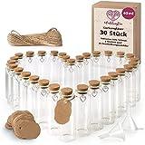 WeddingTree 30 x 40ml Botella de Vidrio Mini - Set de Mini Botellas de Cristal con Corcho y Llavero de Corazón - para Invitados Bodas, Decoración, Frasco para Especia