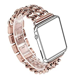 For Apple Watch Band  Wearlizer Stainless Steel Watch Band Replacement Strap for Both Apple Watch Series 1 and Series 2 - 42mm Rose Gold