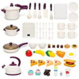 59 PCS Kids Kitchen Cooking Play Toys for Girls Boys, Play Food Set, Cookware Pots and Pans Playhouse, Little Peeling and Cutting Pretend Playset Accessories, Outdoor Indoor Learning Gift for Toddlers
