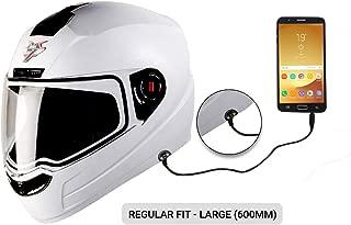 Steelbird SBA-1 7Wings HF Dashing Full Face Helmet with Plain Visor and Detachable Handsfree Device (REGULAR FIT LARGE 600 MM, WHITE)